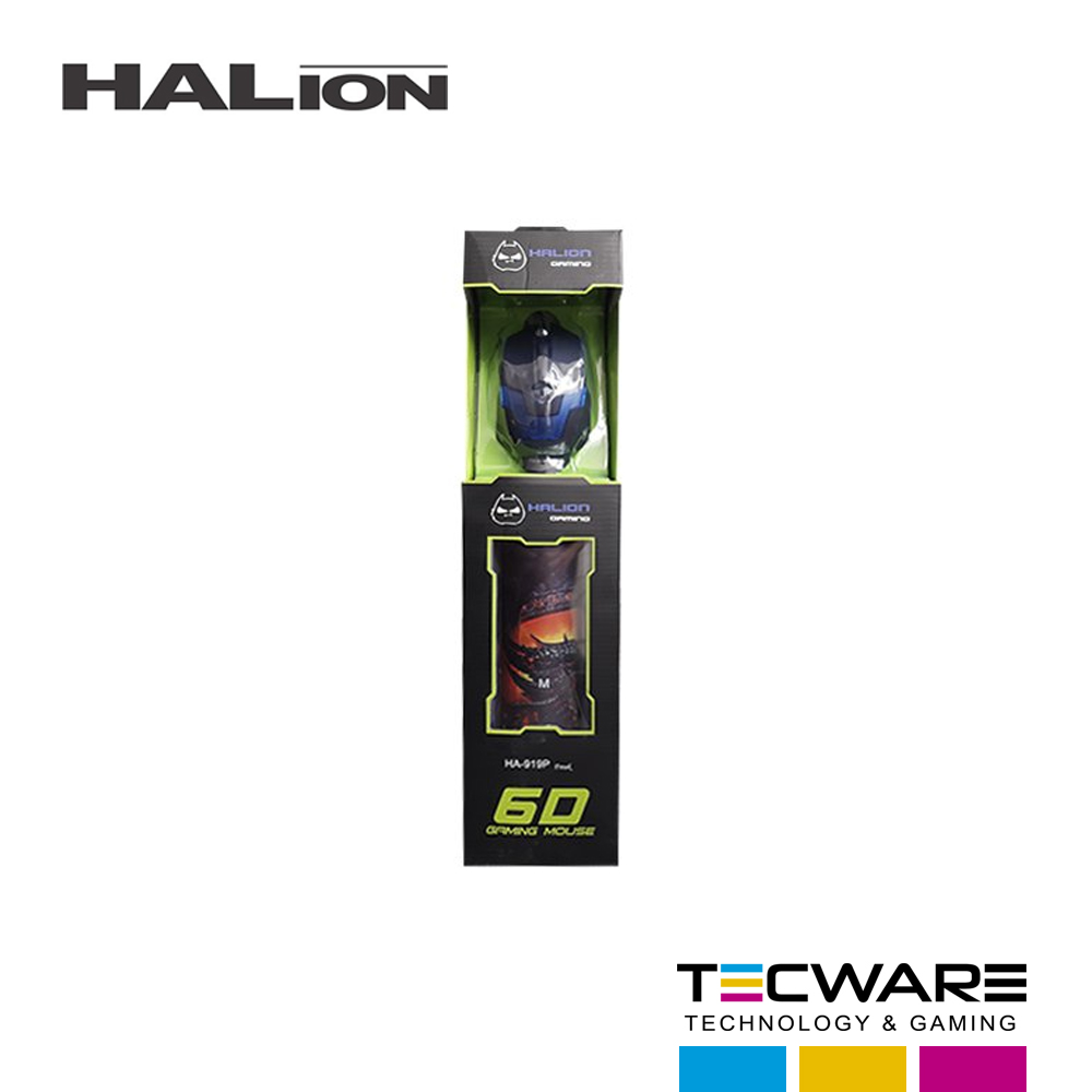 COMBO (MOUSE+PAD MOUSE) GAMING HALION HA-923P SHERMAN 2400 DPI 7 COLORES