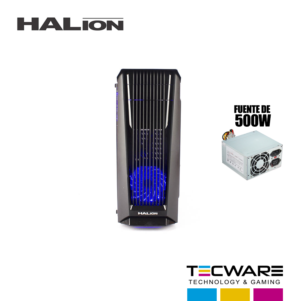 CASE HALION PHANTOM (8803) C/ FUENTE 500W NEGRO LED AZUL