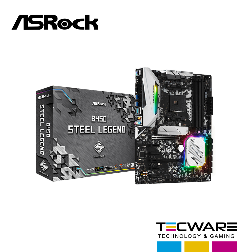 TARJ. MADRE ASROCK B450 STEEL LEGEND AM4 AMD