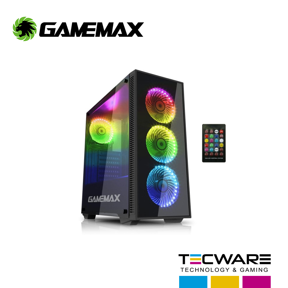 CASE GAMEMAX DRACO NEW S/ F | NEGRO | 2 PANEL VIDRIO | LED-W902