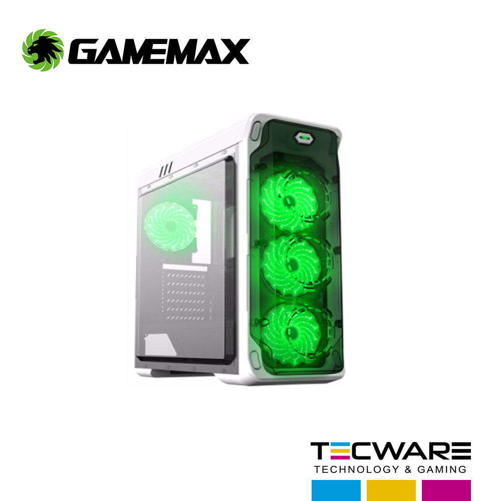 CASE GAMEMAX ( STARLIGHT-W-GREEN ) S/ FUENTE | BLANCO | 1 PANEL ACRILICO | LED