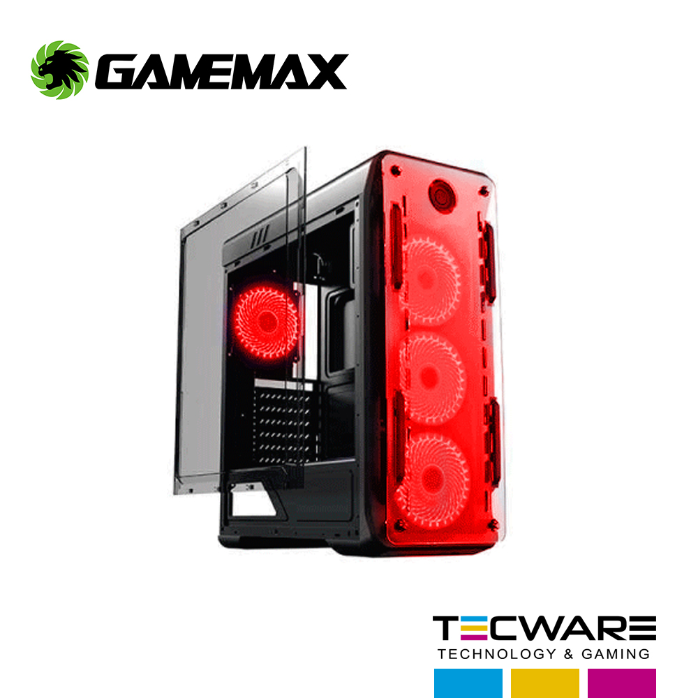 CASE GAMEMAX ( KINGLIGHT-B-RED ) S/ FUENTE NEGRO PANEL ACRILICO LED- ROJO