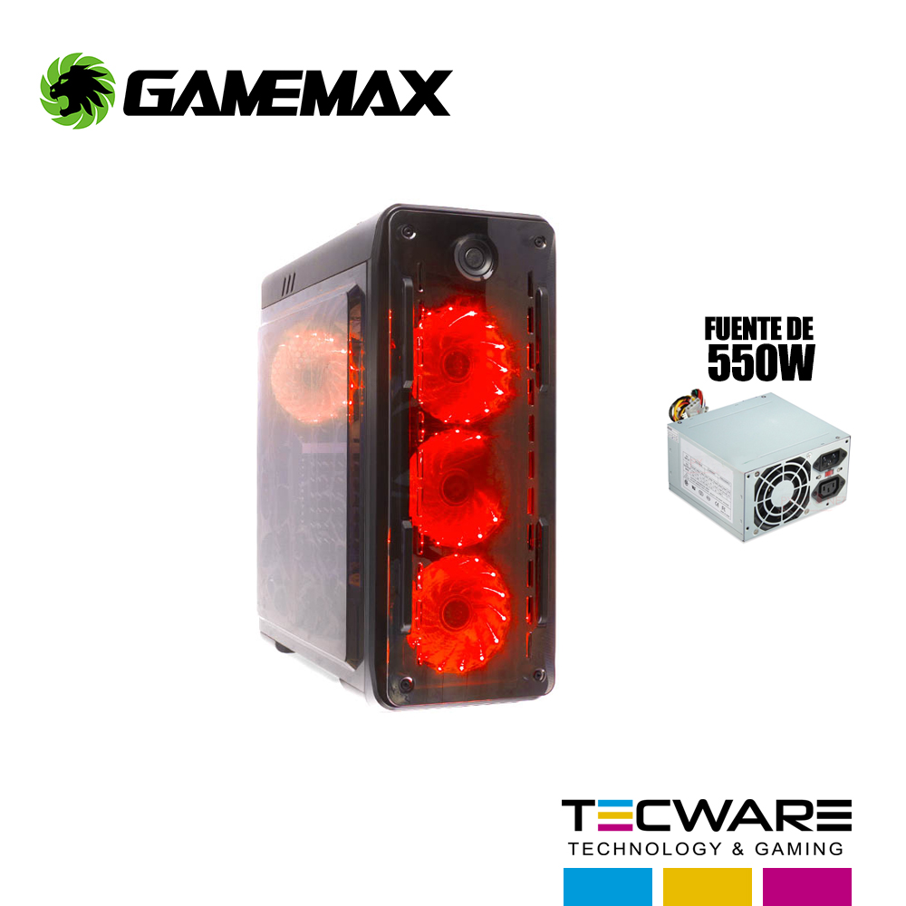 CASE GAMEMAX KINGLIGHT C/ FUENTE 4 COOLER LED ROJO