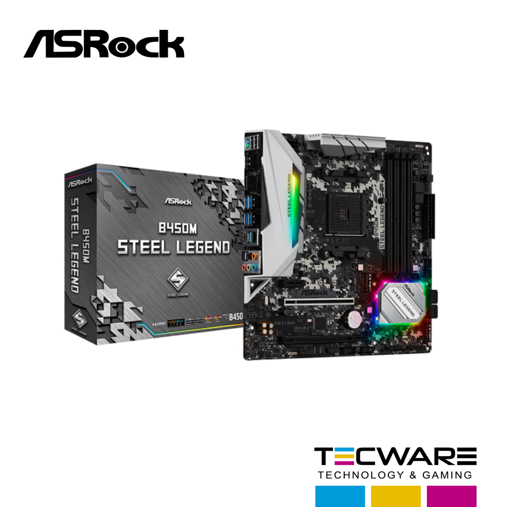 TARJ. MADRE ASROCK B450M STEEL LEGEND AM4 AMD