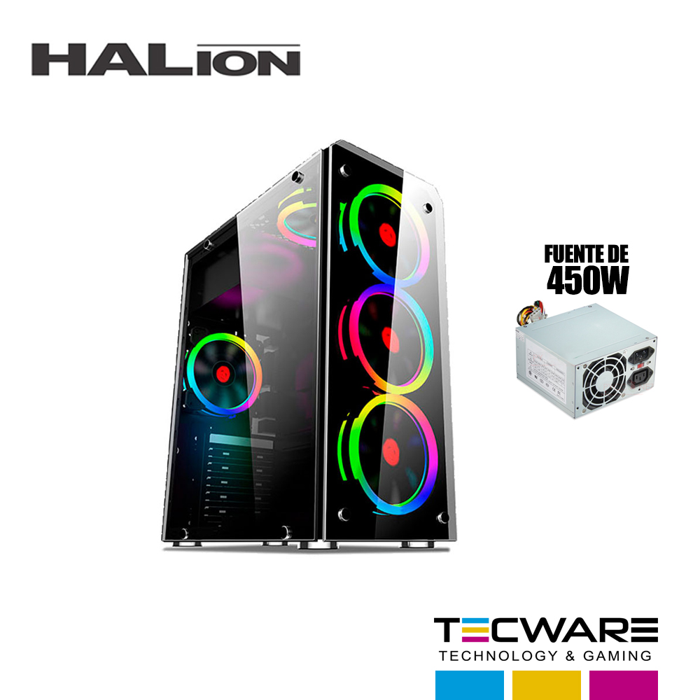CASE HALION SPARTA 842 C/ FUENTE 450W 1 PANEL VIDRIO LED -RGB